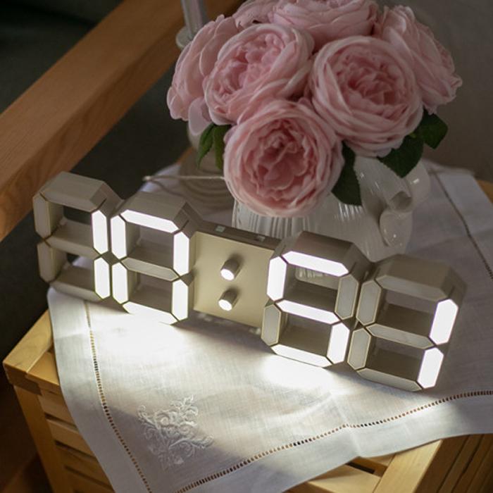 모모스 3D LED 벽시계 탁상시계 24cm 화이트 이미지