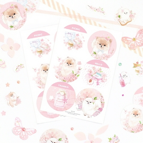 [현재분류명],180822AJB-17168 마넷 원형 라벨 - 벚꽃포메,디자인문구,데코아이템,스티커,데코스티커