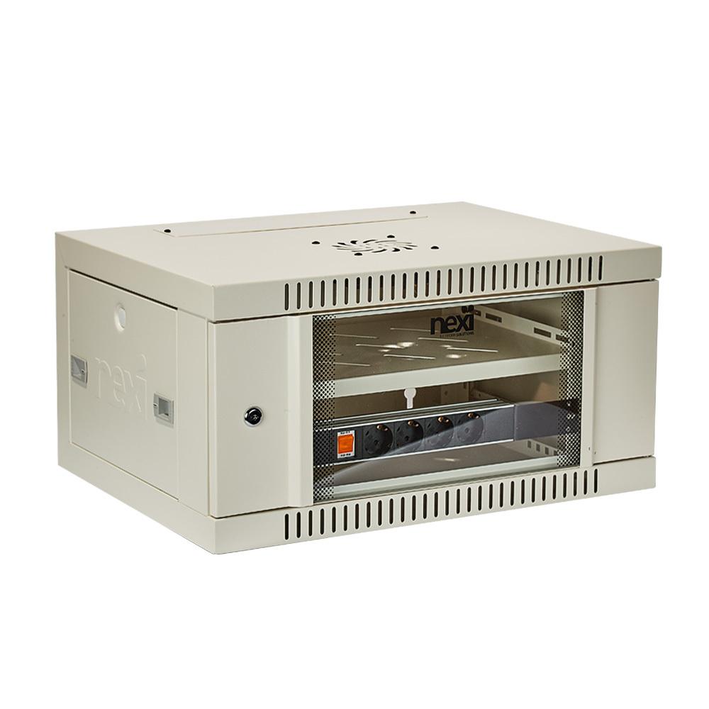 허브랙 H300 H300xW600xD450 6U 서브랙 강화유리 전산