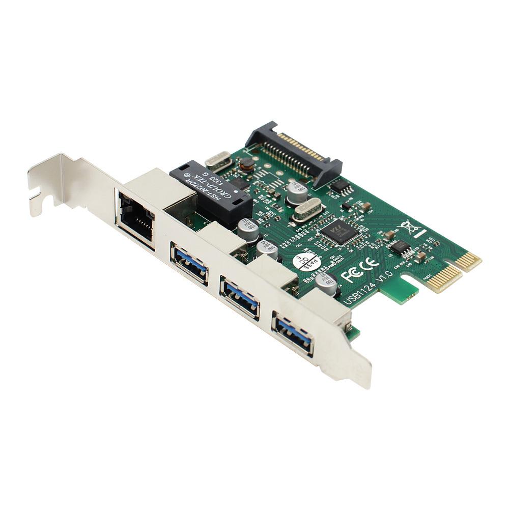 USB3.0 3포트확장 허브 기가비트 랜 PCI-Express 카드