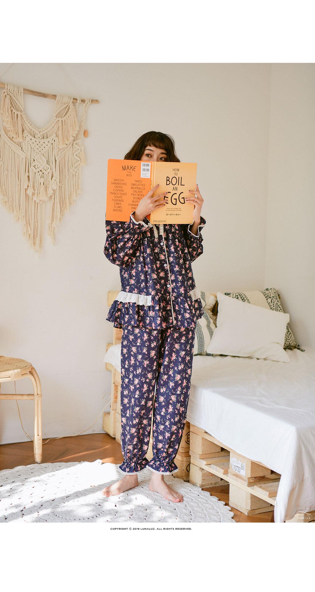 순면 긴소매라운드 투피스 여성잠옷 W405 - 쿠비카, 65,000원, 잠옷, 여성파자마