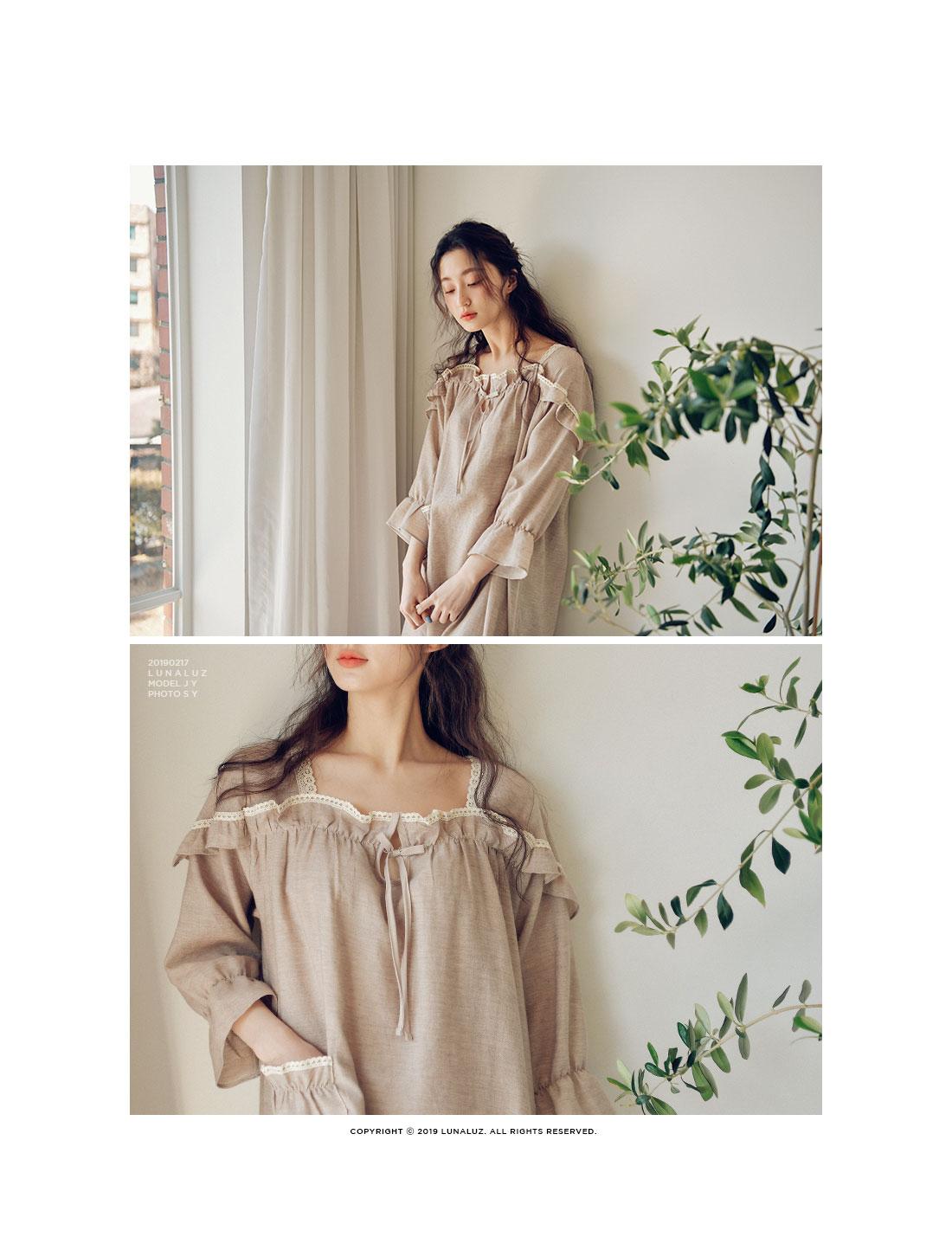 7부소매 선염면 원피스 여성잠옷 W422 - 쿠비카, 59,000원, 잠옷, 원피스잠옷