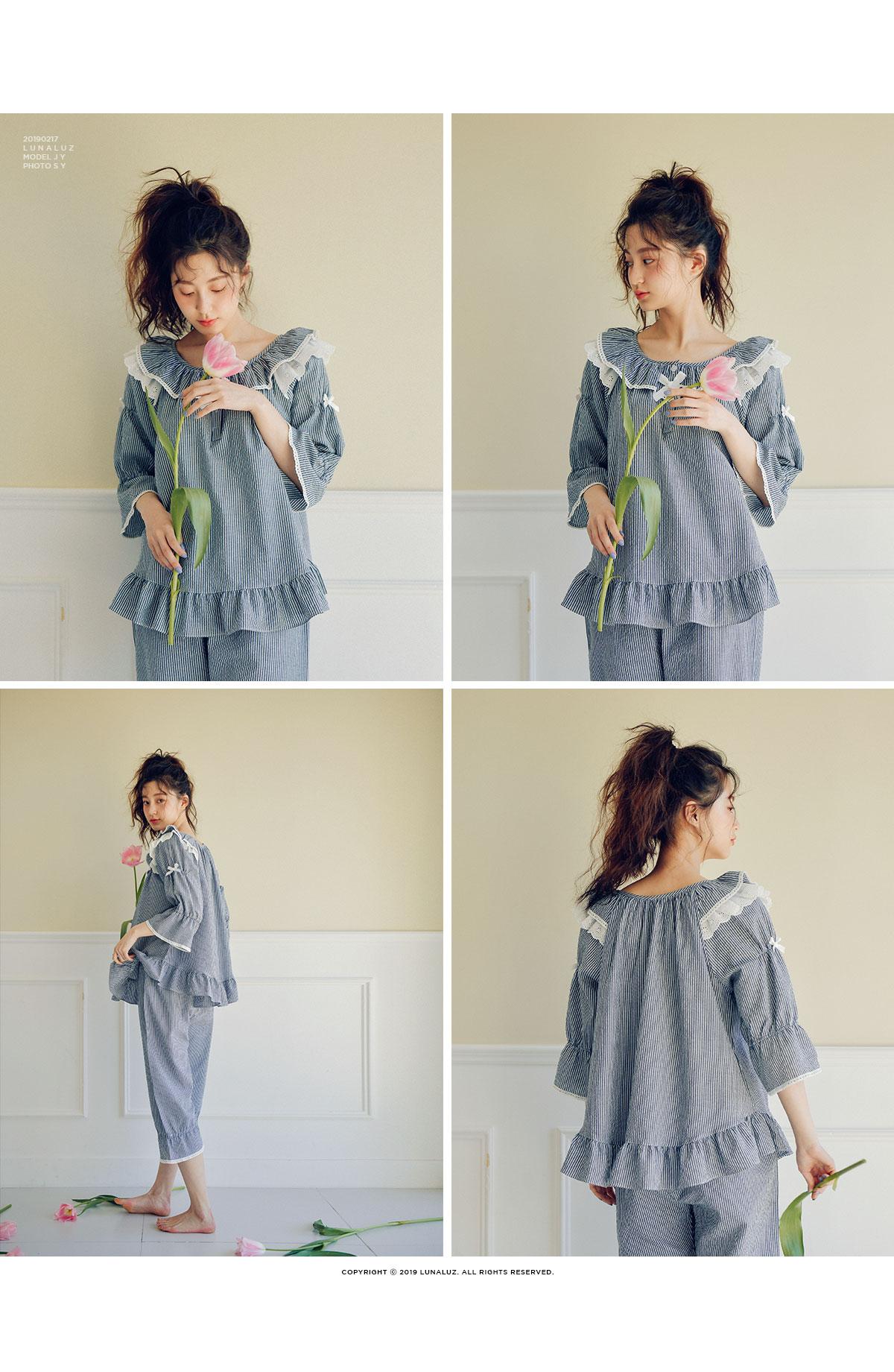 스트라이프 워싱 투피스 7부 여성잠옷 W440 - 쿠비카, 64,600원, 잠옷, 여성파자마