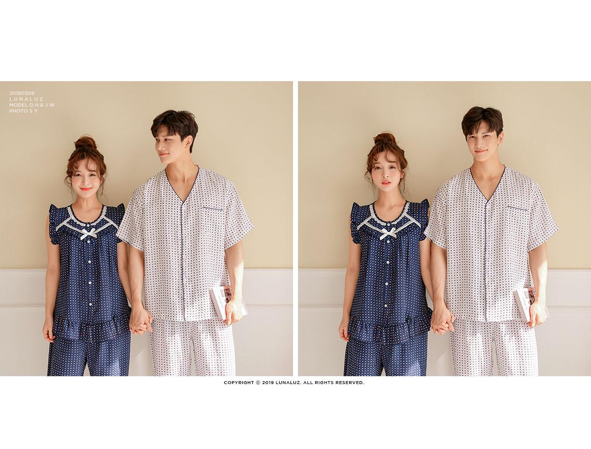 인견 커플 투피스 잠옷 WM182 - 쿠비카, 145,000원, 잠옷, 커플파자마