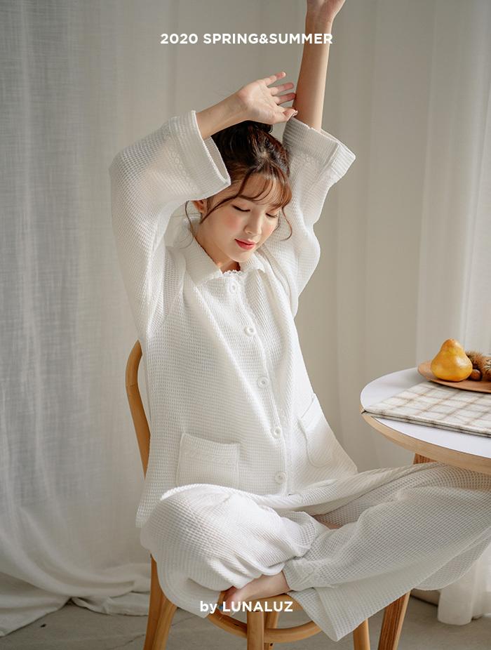 여성 모달와플 상하잠옷(2C긴소매카라넥) 20-00131
