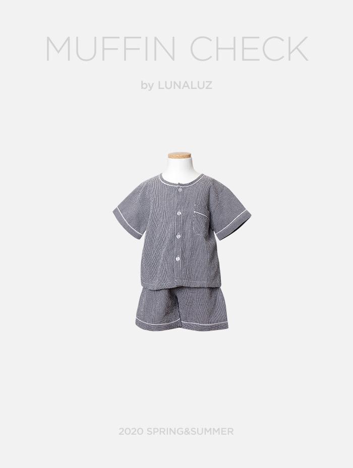아동 머핀체크 상하(반소매라운드넥) 20-02671