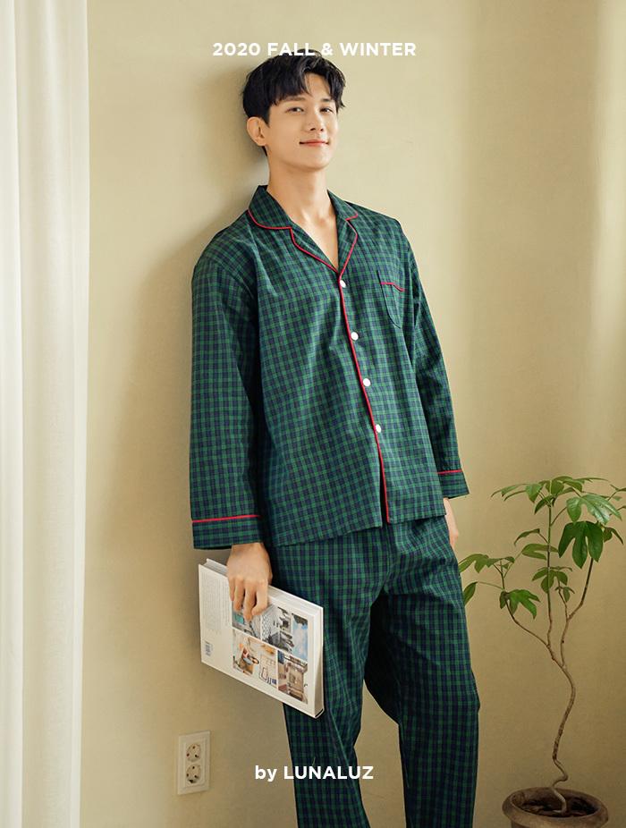 남성 우드체크 코튼 상하(긴소매카라넥) 20-07011