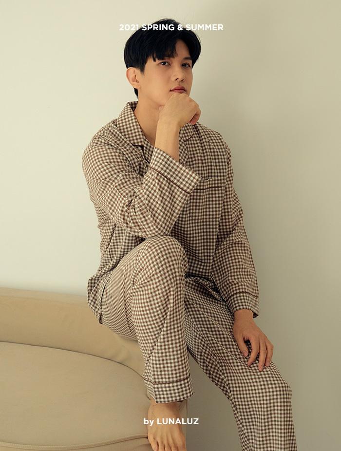 남성 라떼체크 상하(긴소매카라넥) 21-01211