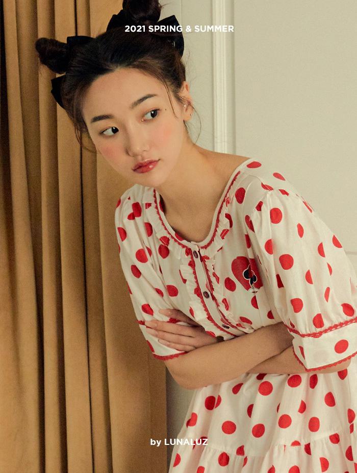 여성 방울미니 코튼 상하(반소매라운드넥) 21-02432