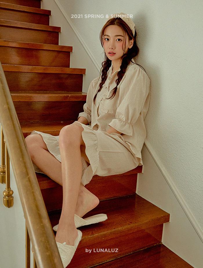 여성 크리스피 선염코튼 상하(반소매프릴카라넥) 21-03532