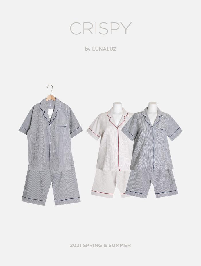 커플 크리스피 선염코튼 상하(2C반소매카라넥) 21-03551