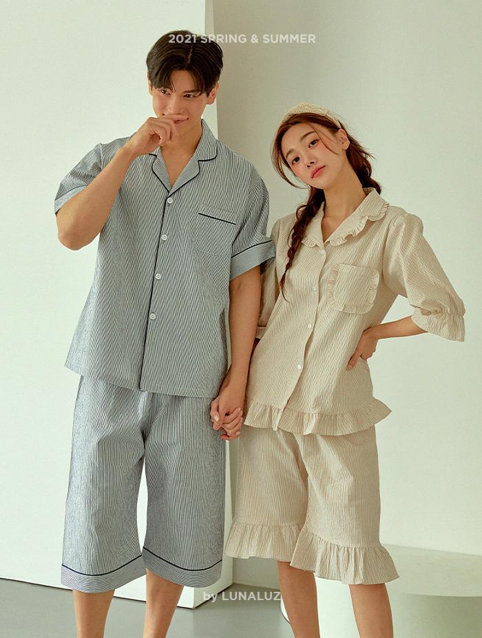 커플 크리스피 선염코튼 상하(반소매프릴카라넥) 21-03552