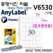 애니라벨 증명사진 라벨 V6530 (30칸) Glossy Photo Labels - 프린텍
