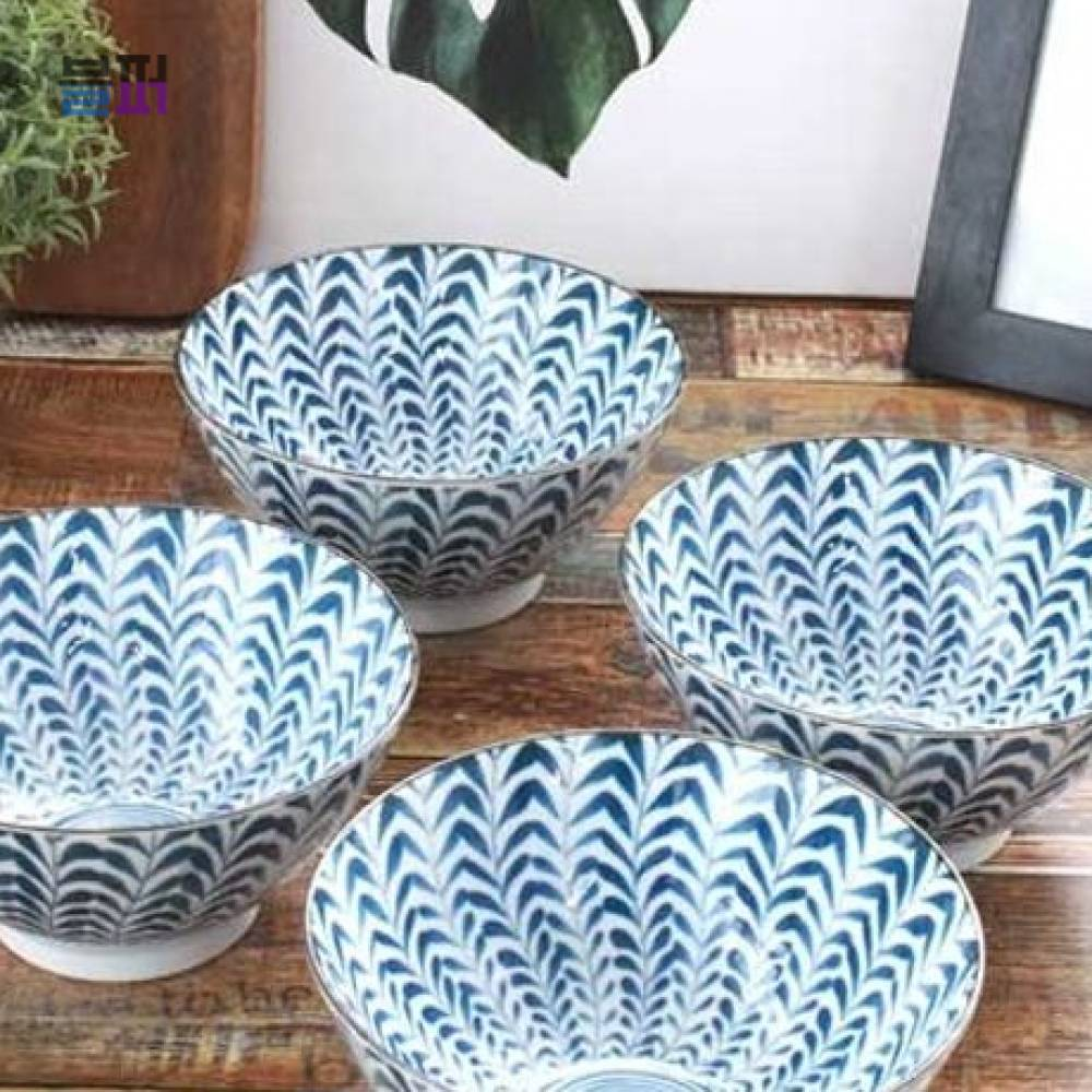대나무잎 디자인 면그릇 우동그릇 국그릇 4P세트