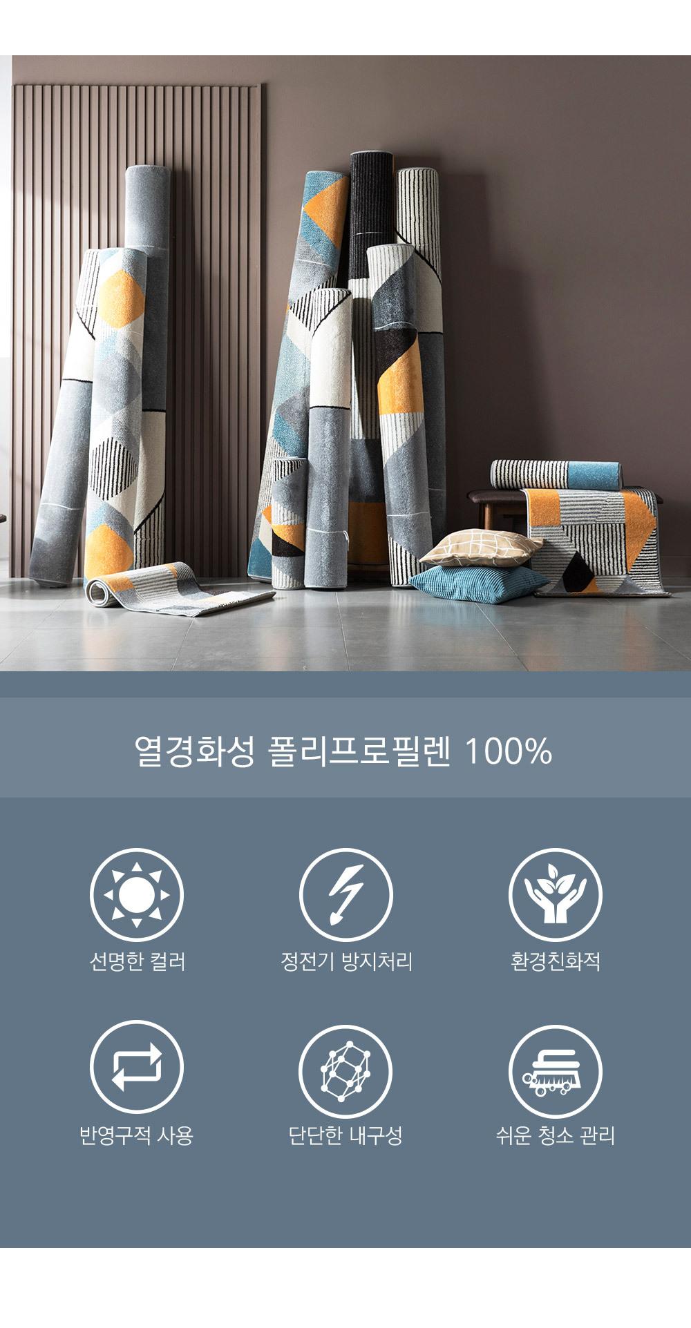 노블리사 러그 특징 - 열경화성 폴리프로필렌 100%, 컬러선명, 정전기방지, 친환경, 반영구적, 단단한 내구성, 쉬운청소관리