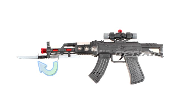 toy plastic machine gun flashing light laser point sounds