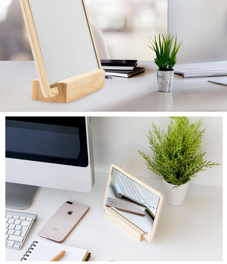 원목 테이블 데스크 책상 스탠드 사무실 탁상거울 - 우디수피, 5,700원, 책상/의자, 책상소품/부품
