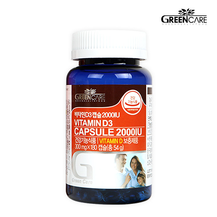 Wm 그린케어 비타민D3 캡슐 2000IU(300mg x 180캡슐)