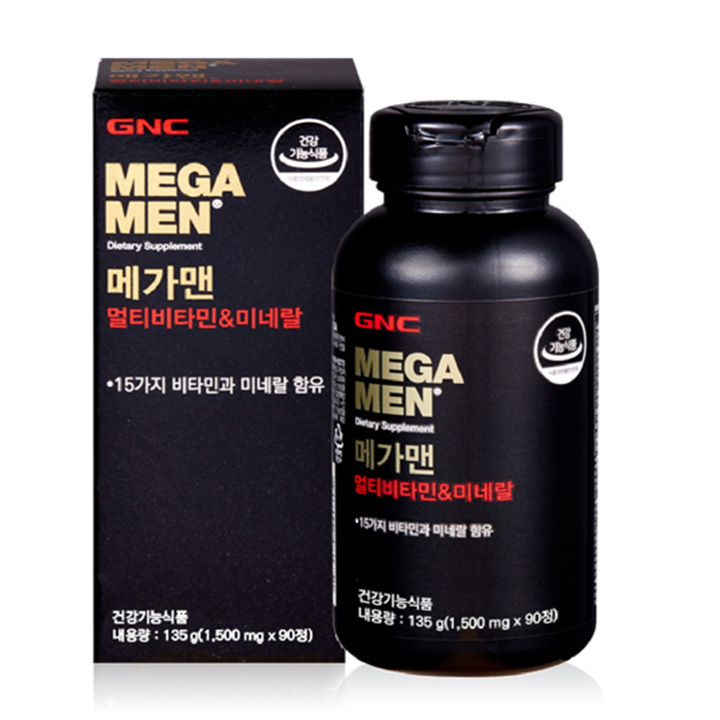 Wm GNC 메가맨 멀티비타민 미네랄 (1500mg X 90정) (135g)