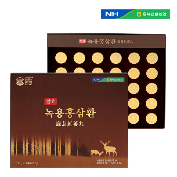 [충북인삼농협] 발효녹용홍삼환 3.75g X 30환