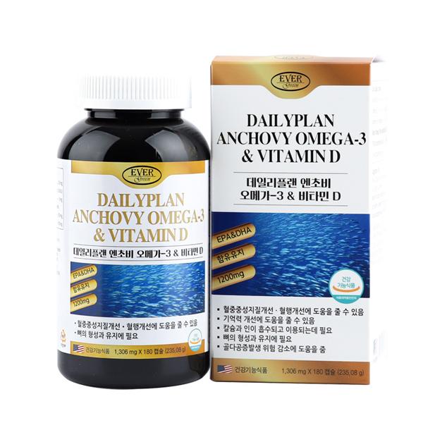 [에버그린] 데일리플랜 엔쵸비오메가3 & 비타민D 1306mg x 180캡슐