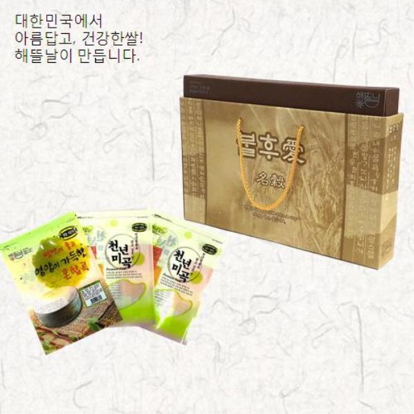 [해뜰날] 불후애명곡 3종 잡곡선물세트 1호(현미,찰흑미,혼합15곡) 1.5kg
