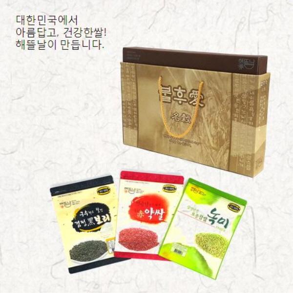 [해뜰날] 불후애명곡 3종 잡곡선물세트 B-1호(녹찰현미,붉은약쌀,검정보리) 1.5kg