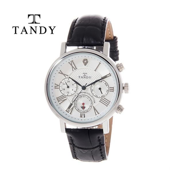 [TANDY] 탠디 프린스 다이아몬드 가죽시계, T-1901 WH