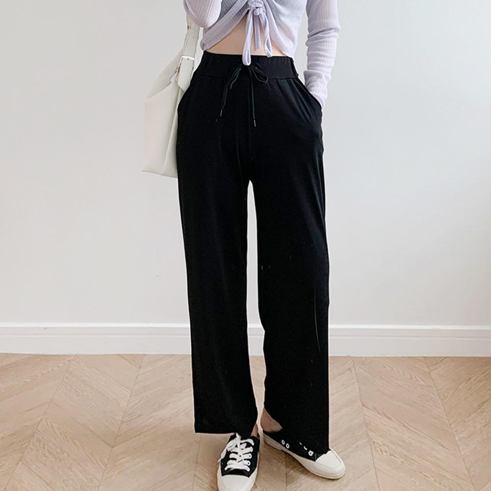 여성 얇은 찰랑 밴딩 와이드 기본 팬츠