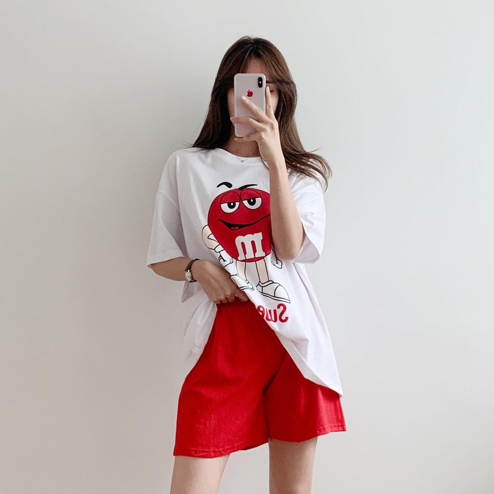 면 루즈핏 나염 티셔츠 밴딩 팬츠 SET