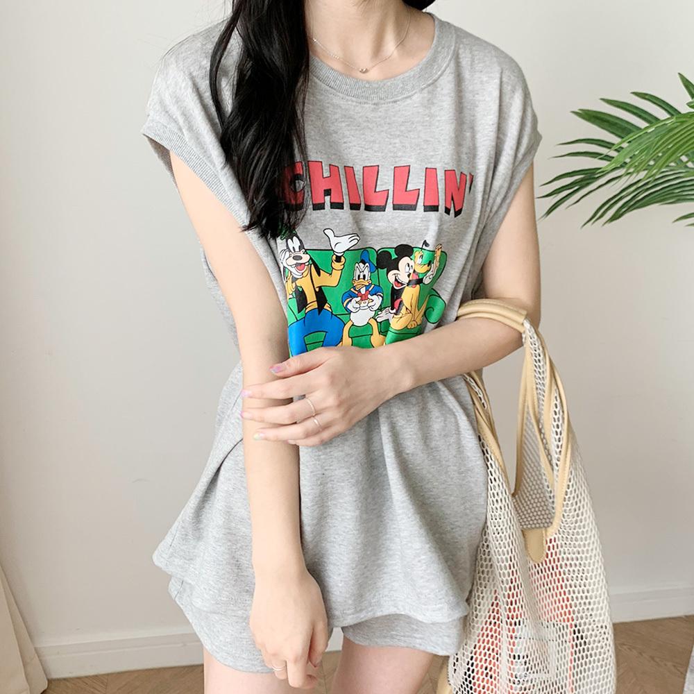 나염 미키 프린팅 민소매 티셔츠 팬츠 SET