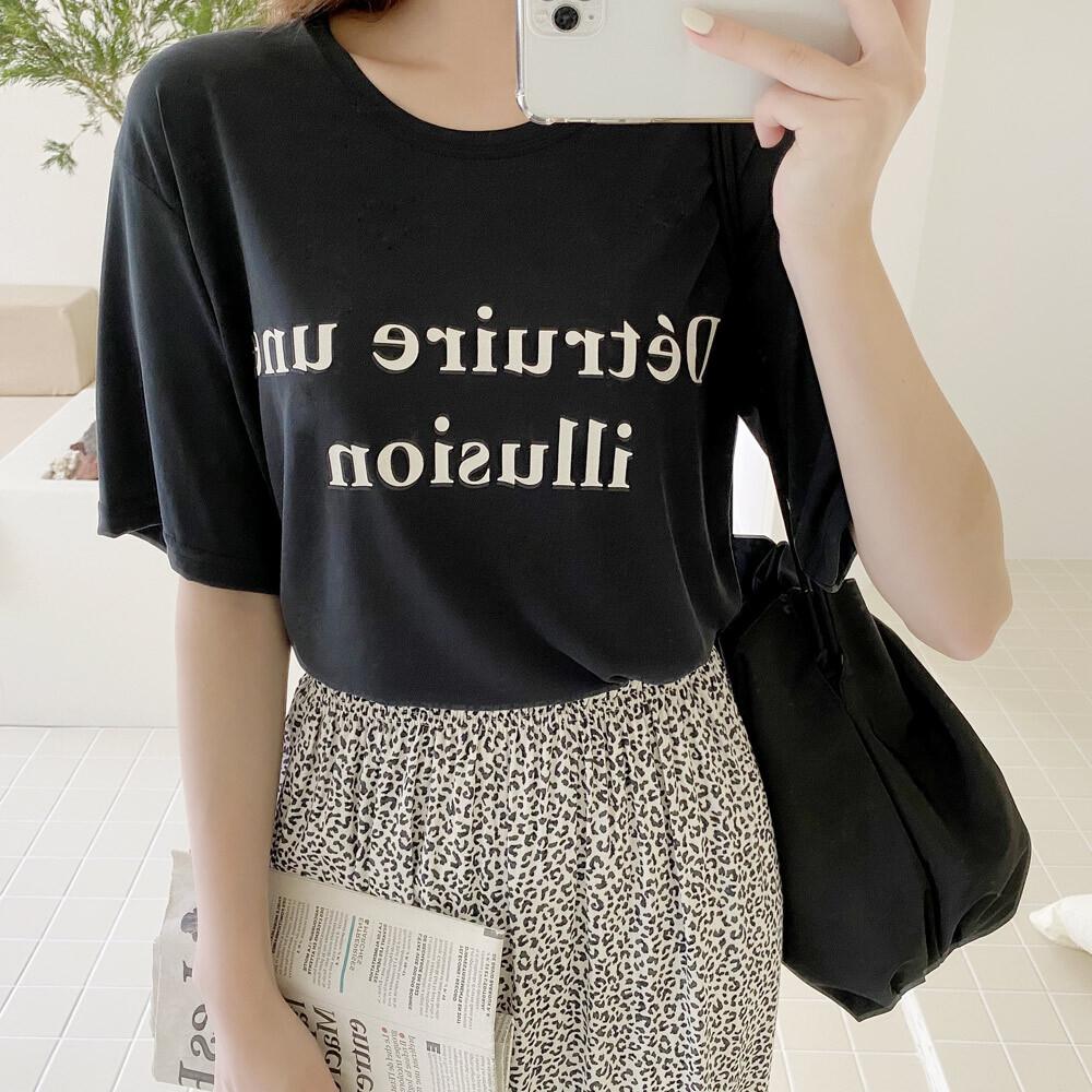 여름 모딜 라운드 레터링 반팔 티셔츠