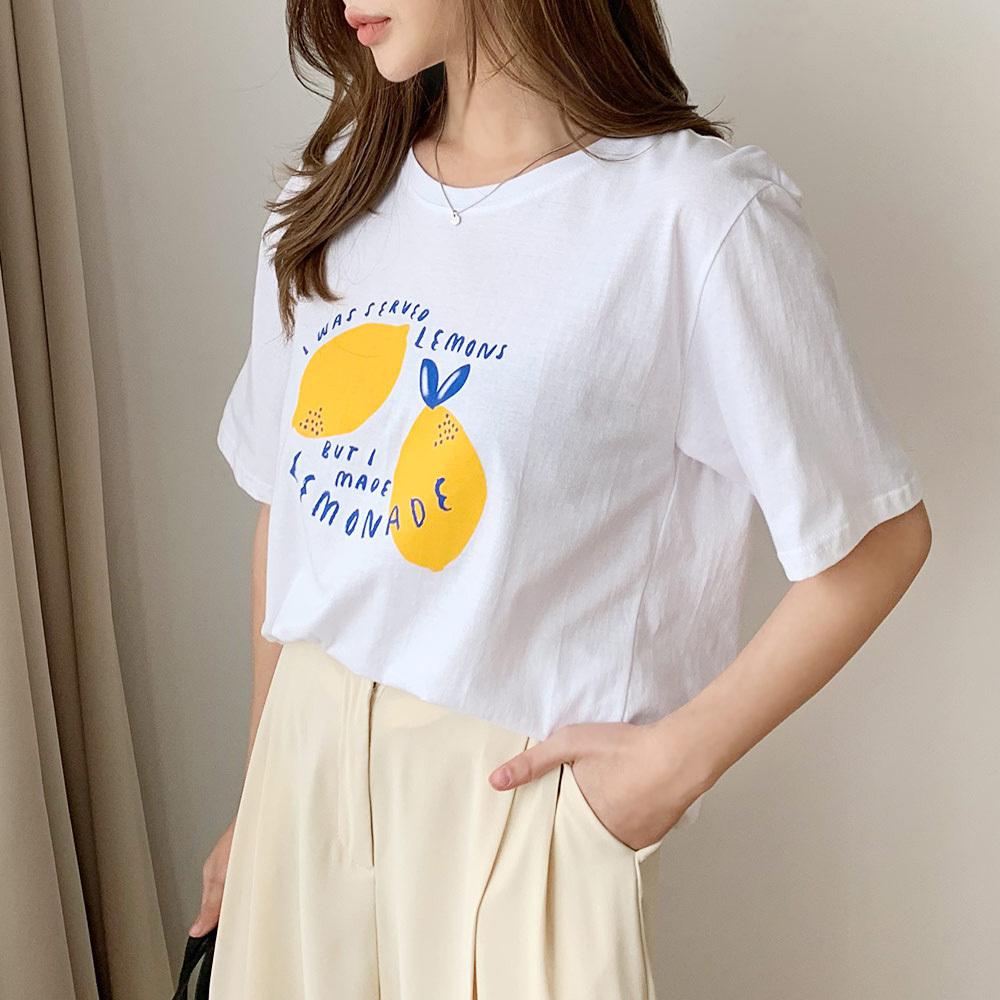 여름 여성 면 기본 나염 반팔 티셔츠