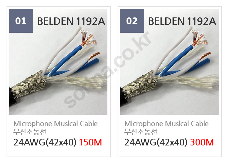 Belden® professional microphone cable Belden 1192A 옵션