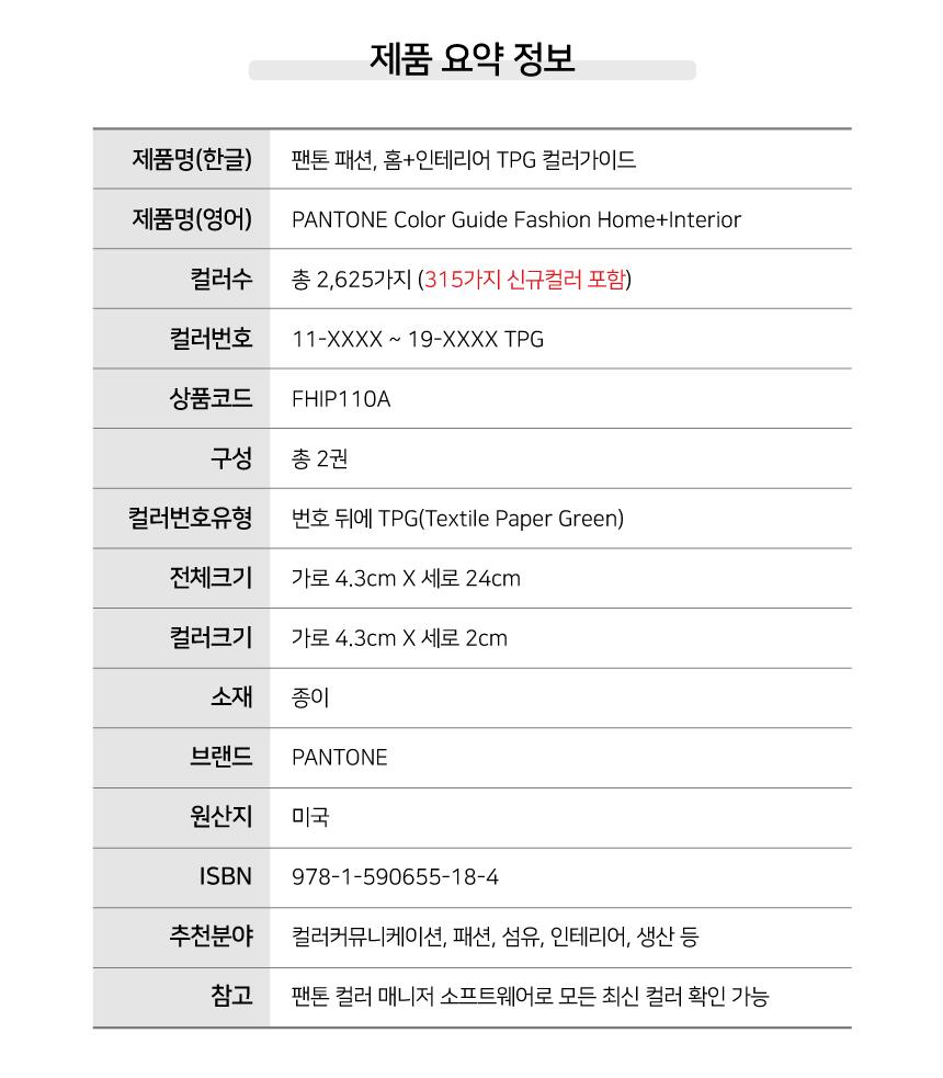 팬톤 TPG 컬러 가이드 제품 요약 정보