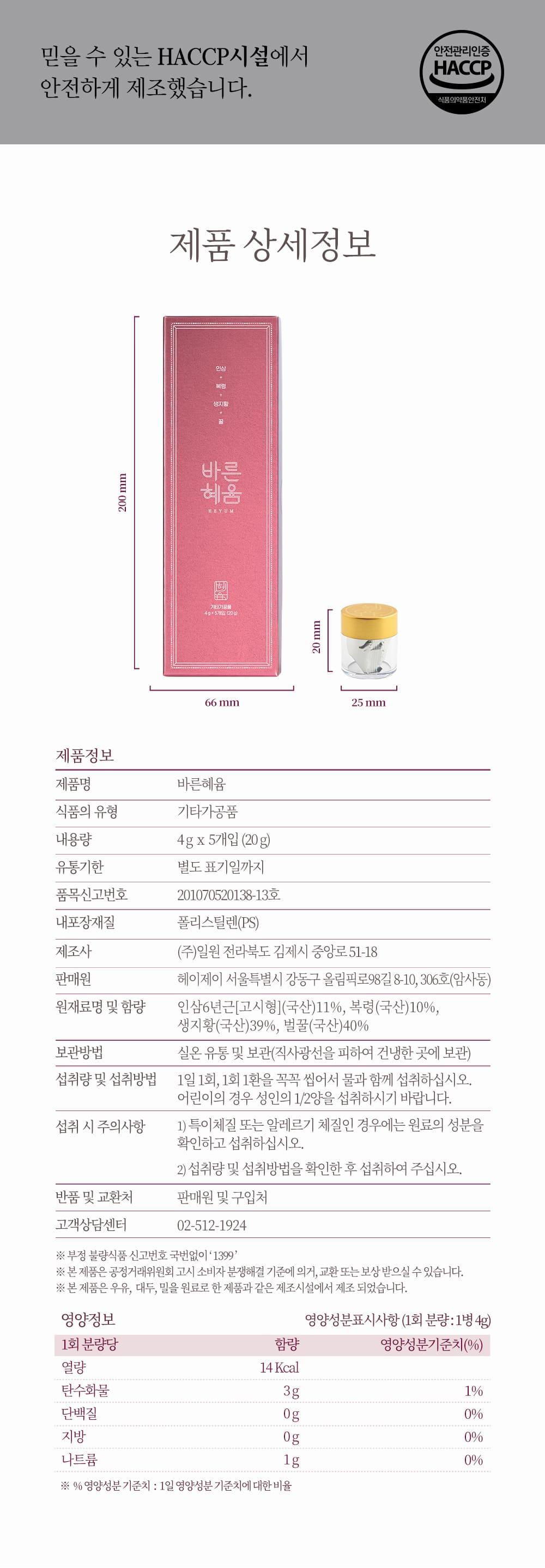 바른혜윰 선물세트 상품 상세 설명.