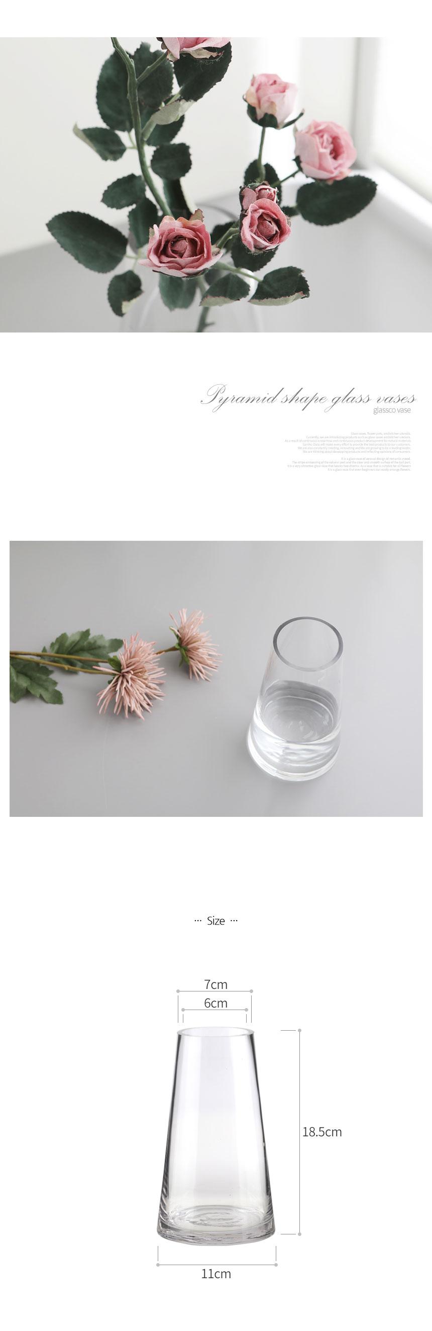 피라밋 인테리어 유리화병 (대,투명) - 글라스코, 14,800원, 화병/수반, 유리화병