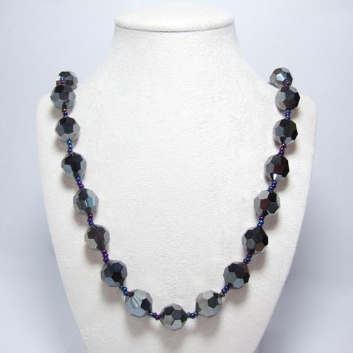 VINTAGE czech glass necklace brass filigree - 7100