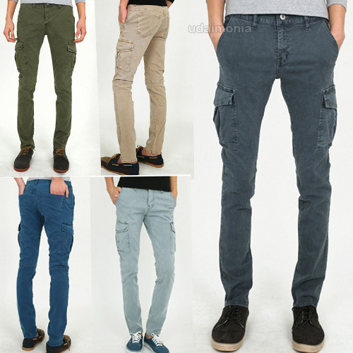 Mens Slim Fit Cargo Pants Vintage Combat Trousers Gray Beige Khaki ...
