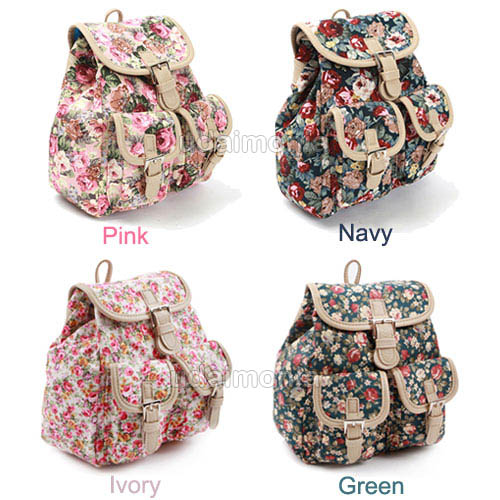 Floral Mini Backpack for Women Small School Bags Bookbag Pink Navy ...