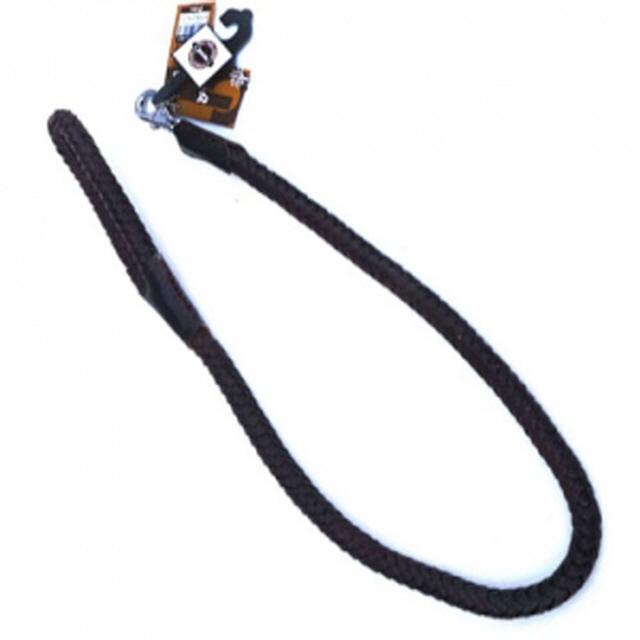 애견용 브리더 통가죽 꽈배기 리드줄 브라운 L 120cm