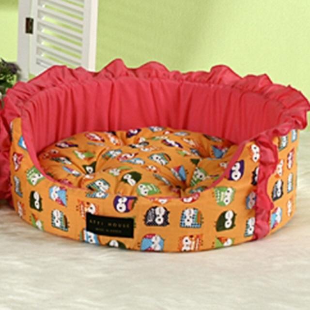 GT 아띠하우스 강아지 애완 방석 오렌지부엉이 원방석