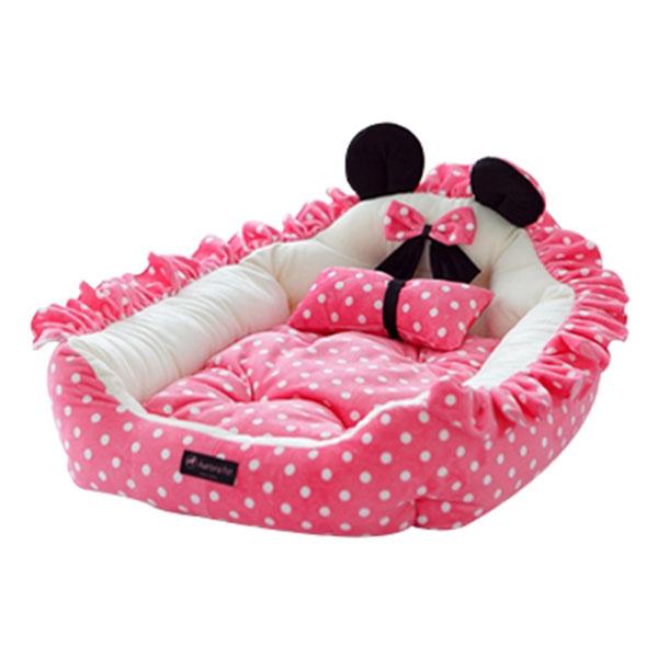 오로라펫 핑크도트 침대 M