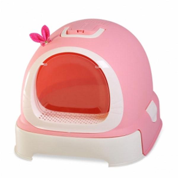 마칼 버블캣 후드형 화장실 핑크