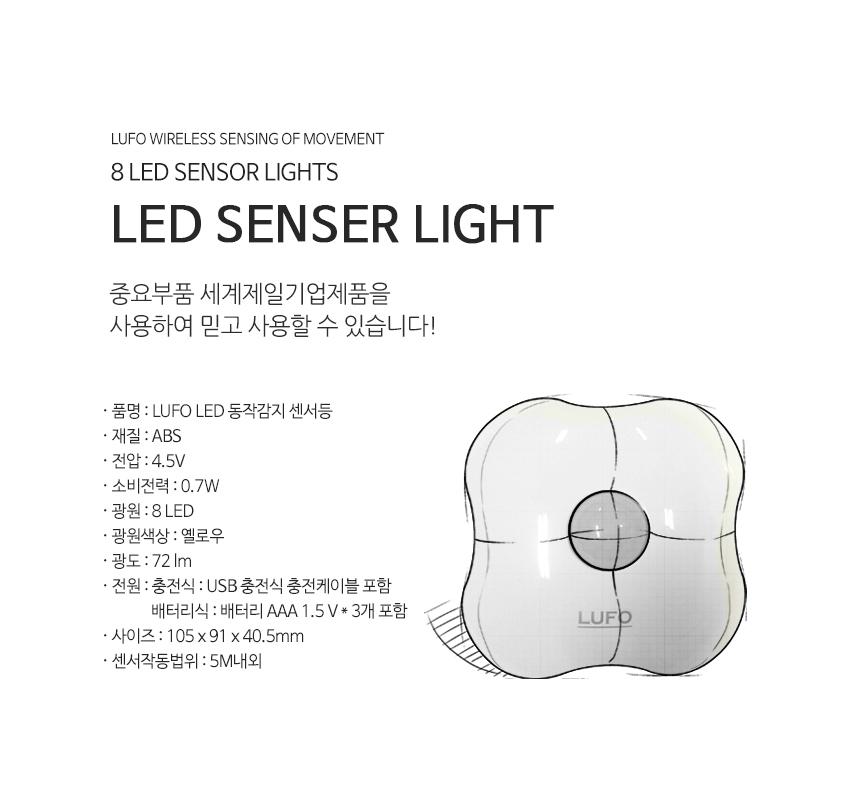 LUFO 건전지식 인체 감지 LED 무선센서등 - 쥬빌리라이프, 15,900원, 리빙조명, 벽조명