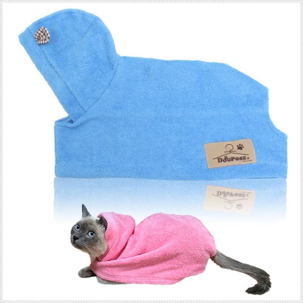 물기제거 고양이 전용 목욕가운 블루 애묘 고양이용품