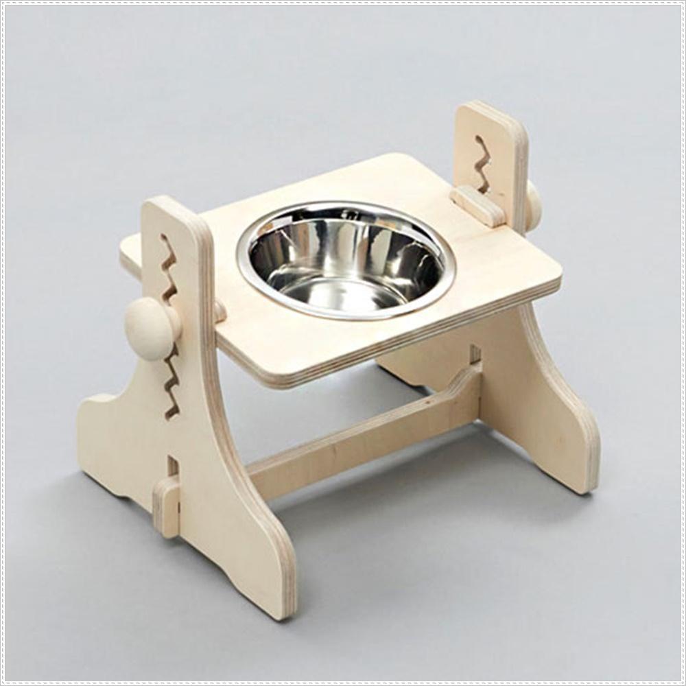 높이조절 원목 식탁 1구 스텐 애견식기 강아지밥상
