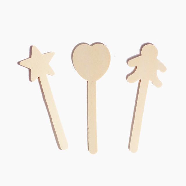 초등 유아 만들기 미술 재료 원목 모양스틱 3개
