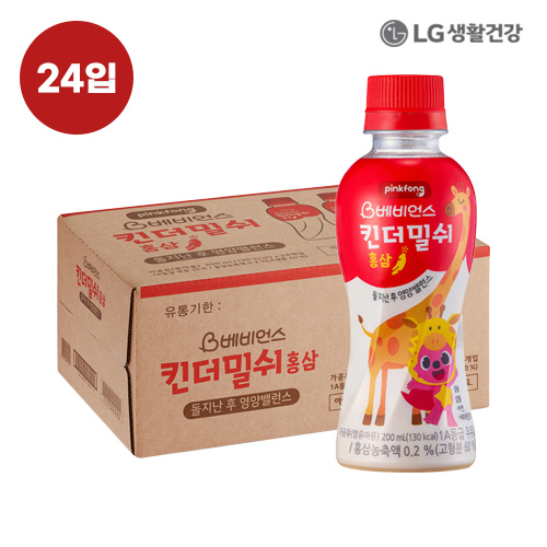 LG생활건강 핑크퐁 킨더밀쉬 홍삼(200ml) 24입●