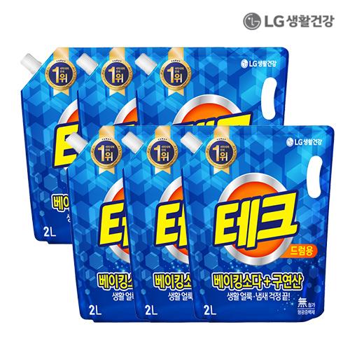LG생활건강 테크 베이킹소다구연산 액체세제 드럼용 리필 2L X 6개●